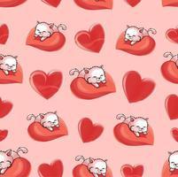 lindo coração dia dos namorados com padrão de gatos vetor