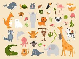 dibujos animados de animales salvajes vector