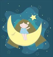 niña sentada en la luna en el cielo nocturno vector