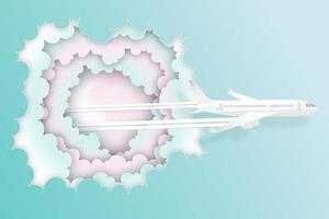 Pastel paper art of airplane flying from clouds vector