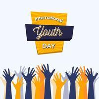 Cartel del día internacional de la juventud con manos azules y amarillas