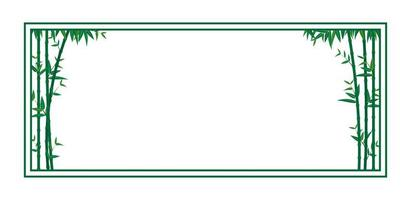 Green bamboo frame template vector