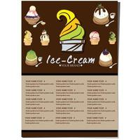 menu de sobremesas de sorvete vetor