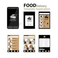 Black and brown  application for japanese food delivery vector