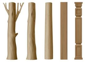 Set of pillars of wood in eco style