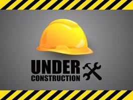 Under Construction Sign with Hard Hat vector