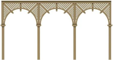 Arcade classic wooden veranda with arches