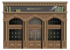 fachada exterior de madeira com livros vetor