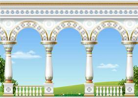 Balcony of a fabulous palace in eastern classical style