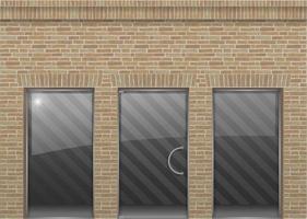 face en brique de style loft avec portes et fenêtres en verre vecteur