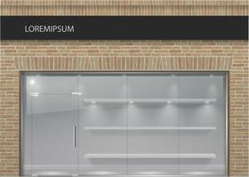 Loft style brick facae with panoramic glass vector