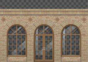 fachada clássica de tijolo retrô vetor
