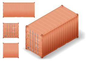 Isometry of cargo transport sea container vector