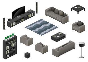 conjunto de elementos de mobiliário de sala isométrica