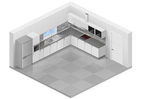 interior de cocina blanca moderna vector