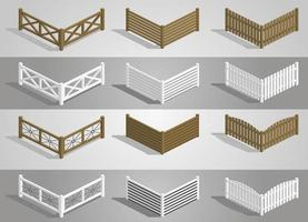 Set of different sections of wooden fence vector