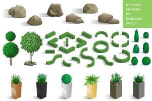 Set of landscape elements and plants