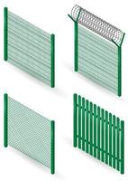 Set of green metal fences
