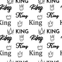 King doodle text seamless pattern