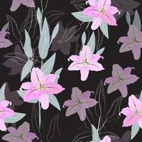 Pink lily flower pattern vector