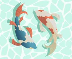 dos peces koi japoneses nadan vector