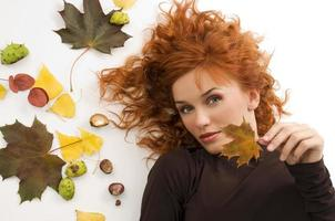 red hair and fall leaf