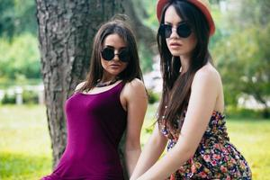 Two young beautiful photo