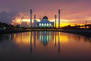 Mosque in the rainy dark day photo