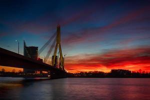 Bridge in Riga at sunset time