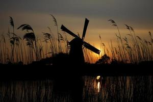 Dutch windmill at sunset photo