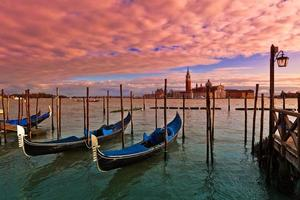 Sunset time in Venice, Italy.