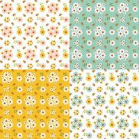 Seamless dairy pattern set