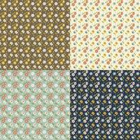 Seamless retro small floral pattern set
