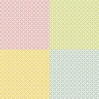 Seamless pastel diamond floral pattern set