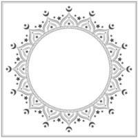Black and white star and moon mandala vector