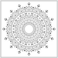 Black and white decorative mandala with moons vector