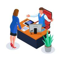 Business people problem solving in workspace vector