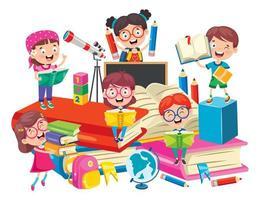 niños de la escuela en grandes libros que se divierten aprendiendo vector