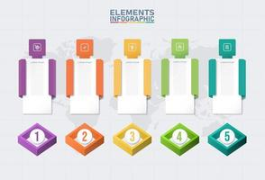 Color infographic elements template vector