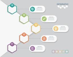 Conceito de negócio hexagonal 3D com 5 opções