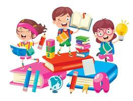 niños felices de la escuela en grandes libros vector