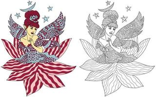 Fairy Colouring Page vector