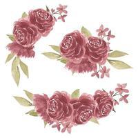 conjunto de arreglos florales de acuarela rosa vector