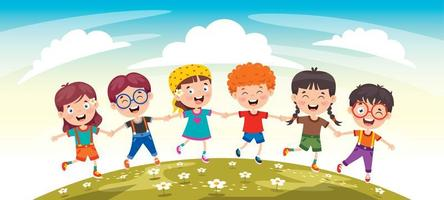 Happy Kid Friends Having Fun vector