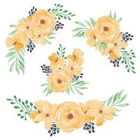 Yellow watercolor rose flower bouquet set vector
