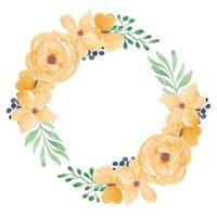 Yellow watercolor rose flower wreath