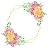 Watercolor rustic rose floral with golden frame