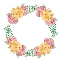 Watercolor pink and yellow floral wreath  vector