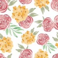 Watercolor rose petal floral seamless pattern