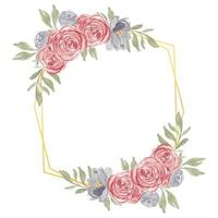 Watercolor hand painted rustic rose floral frame